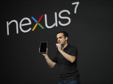 The original Nexus 7 at the launch. Google's Hugo Barra is seen with the device in this file photo. Reuters