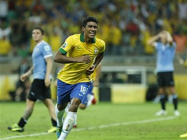 Paulinho was influential for Brazil in the midfield. AP
