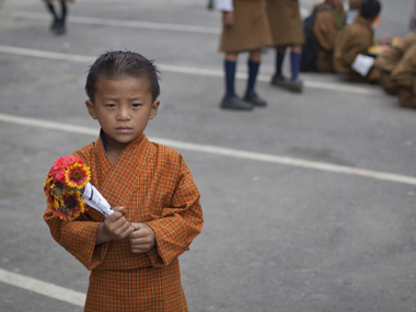A young Bhutanese boy wearing the gho, the traditional dress in Thimpu. Reuters image