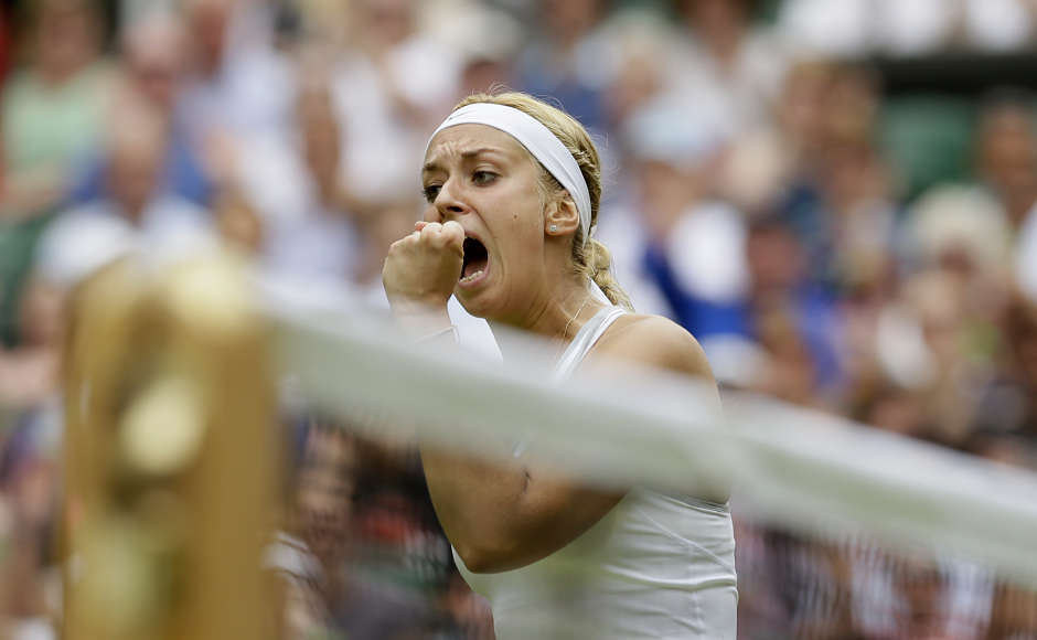 Sabine Lisicki reached the semifinals at the All England Club in 2011 but before the match against Serena Williams, she was clearly the underdog. The American was on a 34-match winning streak and the favourite to win the title. But Lisicki came out firing to take the first set  6-2. (AP Photo/Alastair Grant)