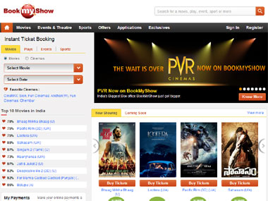 A screengrab of the BookMyShow website.