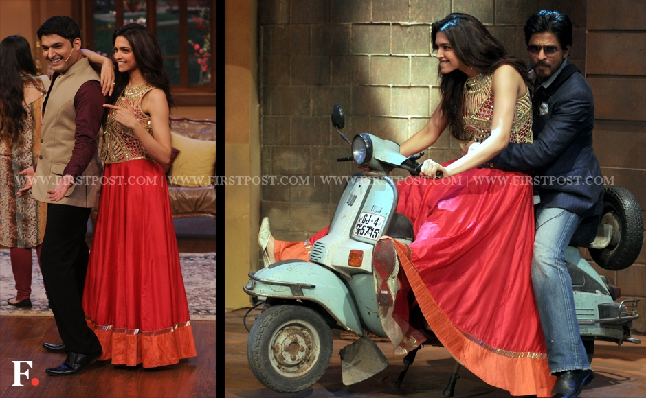 Deepika Padukone rides a scooter with Shah Rukh Khan on the sets of Comedy Night with Kapil. Sachin Gokhale/Firstpost