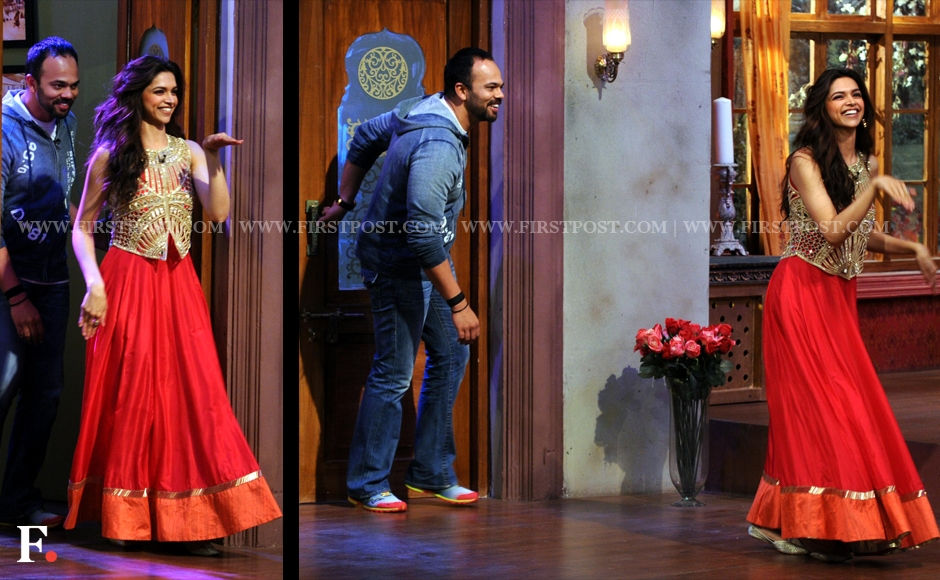 She sure knows how to make an entrance! Deepika Padukone with her Chennai Express director, Rohit Shetty. Sachin Gokhale/Firstpost