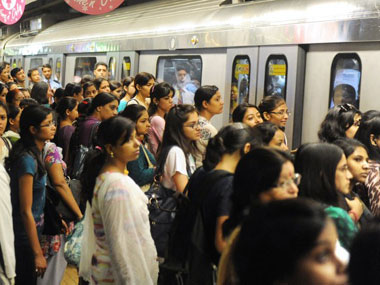 A crowded Delhi Metro station. AFP.