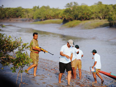 Forest guards conduct a tiger census in the sundarbans. AFP