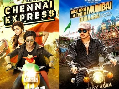 Posters of Chennai Express and Once Upon A Time In Mumbai Dobara.