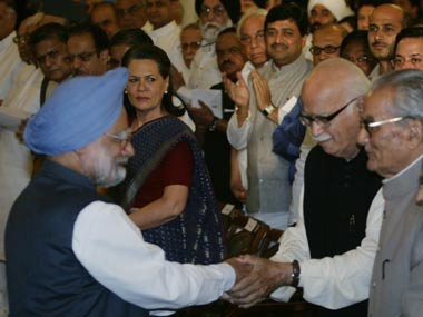 Manmohan Singh and LK Advani. Reuters
