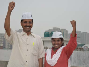 Santosh Koli with Kejriwal shortly after the formation of AAP