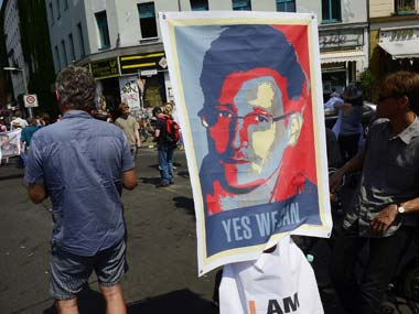 File photo of German citizens marching in support of Edward Snowden in Berlin. AFP
