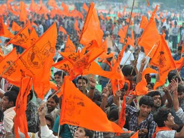 File photo of flags from an earlier VHP rally. AFP