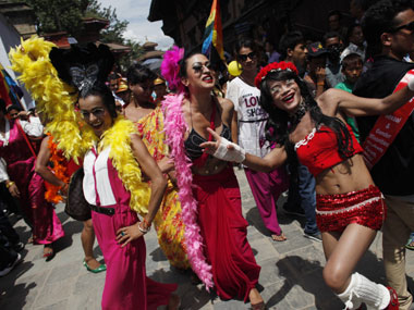 Gay pride walk in Nepal. AFP.