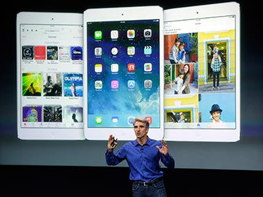 Craig Federighi, senior vice president of Software Engineering at Apple, speaks about the iOS 7 launch. AP