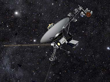 This artist rendering released by NASA shows NASA's Voyager 1 spacecraft barreling through space. AP