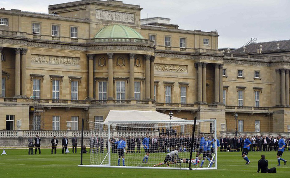 Photos No windows broken as Buckingham Palace hosts first football match