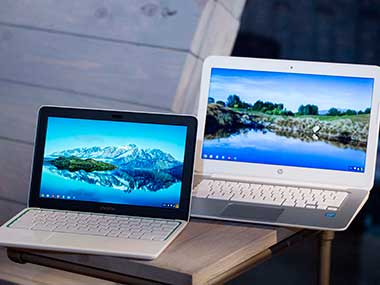 The new HP Chromebook 11, left, is displayed with a Chromebook 14 at a Google event. AP