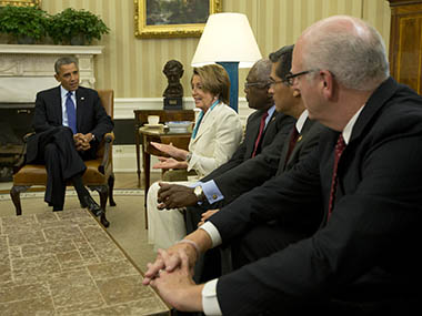 U.S. President Barack Obama meets with U.S. House of Representative leadership in the Oval Office of the White House in Washington. Reuters