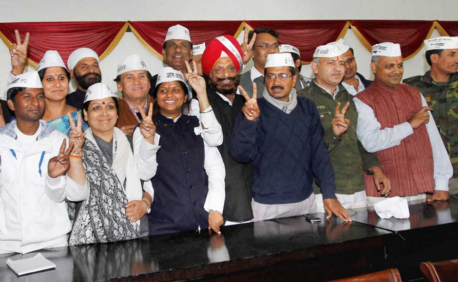 Aam Aadmi Party convener Arvind Kejriwal with Manish Sishodia and other party MLAs during a meeting in New Delhi on Monday.PTI