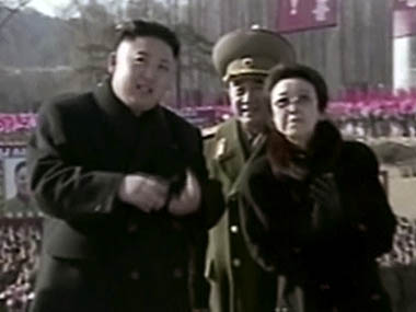 In this Feb. 16, 2013 image made from video, North Korean leader Kim Jong Un, left, along with his aunt Kim Kyong Hui, right, attends a statue unveiling ceremony in Pyongyang, North Korea on the anniversary of late North Korean leader Kim Jong Il's birthday.  The aunt of North Korean leader Kim Jong Un has been named to an ad-hoc state committee, the country's official media reported Sunday, Dec. 15, 2013, an indication that the execution of her husband and the country's No. 2, Jang Song Thaek ,has not immediately diminished her influence. AP