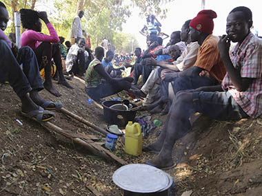 Civilians rest inside the United Nations compound on the outskirts of the capital Juba in South Sudan. Reuters