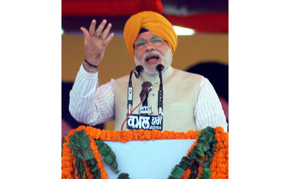 Gujarat Chief Minister and BJP's Prime Ministerial candidate Narendra Modi during a joint rally of SAD and BJP in Jagraon, Punjab on Sunday. PTI