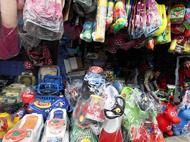 Cheap toys imported from China are displayed in a store. Reuters