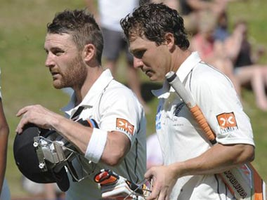 Watling (R) became the third New Zealand wicketkeeper to register a hundred against India. AP