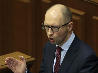 Ukraine's new Prime Minister in the Parliament. AP