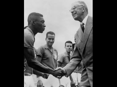 Pele shakes hands with Gustav VI Adolf the King of Sweden before the FIFA World Cup Final. Getty Images