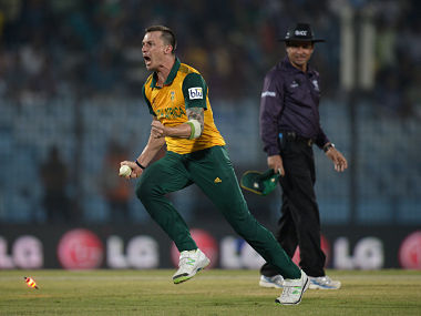 Dale Steyn of South Africa celebrates running out Ross Taylor of New Zealand to win the ICC World Twenty20 Bangladesh 2014 Group 1 match between New Zealand and South Africa. Getty Images