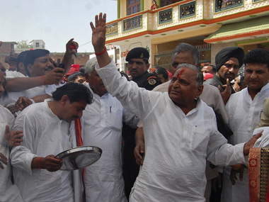 SP chief Mulayam Singh Yadav before filing his nomination for the Lok Sabha polls in Mainpuri. Reuters.