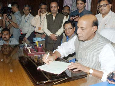 Rajnath takes charge as Home Minister pays tribute to Sardar Patel