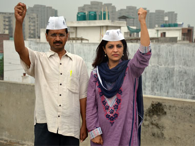 Shazia Ilmi with party leader Arvind Kejriwal. Firstpost
