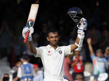 Ajinkya Rahane after reaching his century against England at Lord's. AFP
