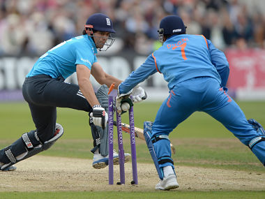 Alastair Cook is stumped by MS Dhoni off the bowling of Ambati Rayudu in 3rd ODI. Getty Images