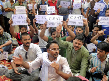 Protests against the UPSC format. PTI file image
