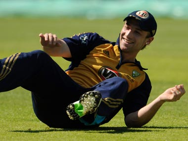 Australia's Phillip Hughes laughs during a training session. Reuters