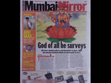 Modi depicted as Brahma in a Mumbai Mirror issue.