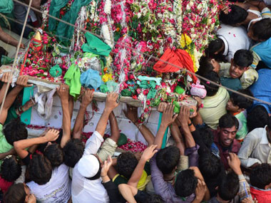 Muslims take out a Taziya in Allahabad. AFP.