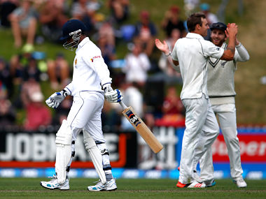 Prasanna Jayawardene walks off after being dismissed off the bowling of Doug Bracewell of New Zealand during day one of the Second Test. Getty