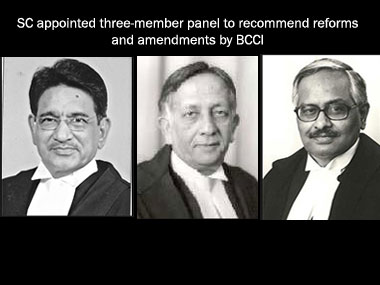 From (L to R) former judges RM Lodha, Ashok Bhan and RV Ravindran. Image courtesy Supreme Court of India website