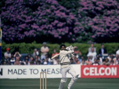 Kapil Dev during his 175 against Zimbabwe in 1983. Getty Images