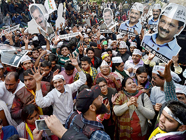 Aam Aadmi Party supporters outside the party office. PTI