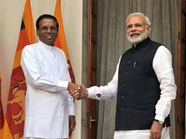 File photo of Prime Minister Narendra Modi with Sri Lankan President Sirisena. PIB