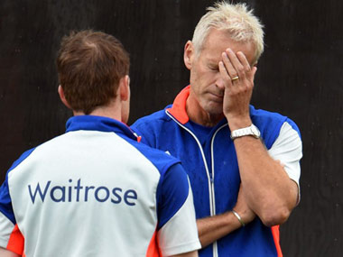 Peter Moores is desperate to carry on as England coach. AFP
