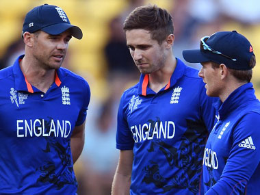 From L to R: James Anderson, Chris Woakes and Eoin Morgan. AFP