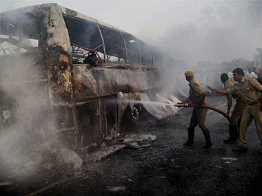 Nine people killed, six injured as bus catches fire in Amethi, UP
