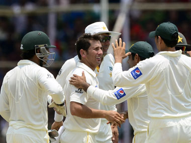 Yasir Shah celebrates after taking a wicket. AFP