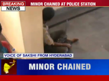 Watch: How Andhra Pradesh police tied minor boy in chains for stealing