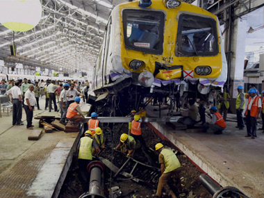 Watch Local train crashes at Churchgate station climbs onto platform