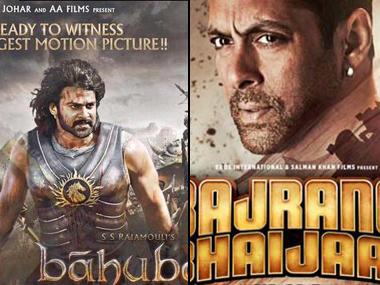 Posters of big budget movies Bahubali and Bajrangi Bhaijan. PTI